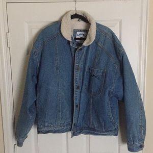 CAMEL *VNTG RARE sherpa lined denim jacket XL